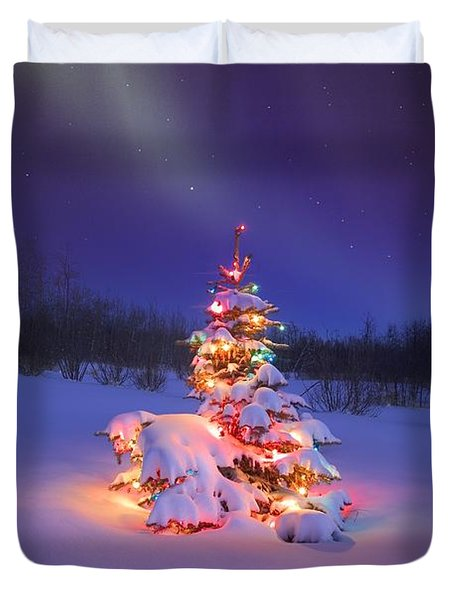 Christmas Tree Glowing Under The Duvet Cover by Carson Ganci