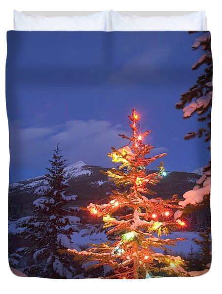 Christmas Tree Outdoors At Night Duvet Cover by Carson Ganci
