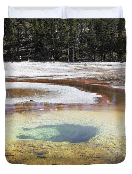 Chromatic Pool Hot Spring, Upper Geyser Duvet Cover by Richard Roscoe