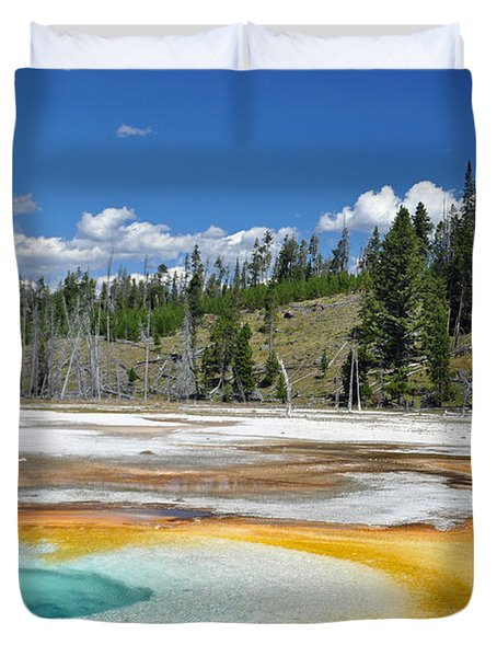 Chromatic Pool Yellowstone National Park Duvet Cover by Bruce Gourley