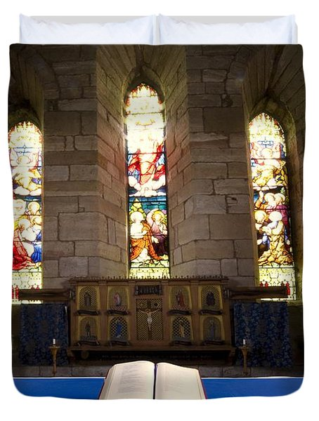 Church And Open Bible, Holy Island Duvet Cover by John Short