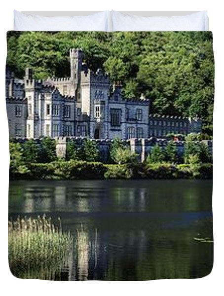 Church Near A Lake, Kylemore Abbey Duvet Cover by The Irish Image Collection