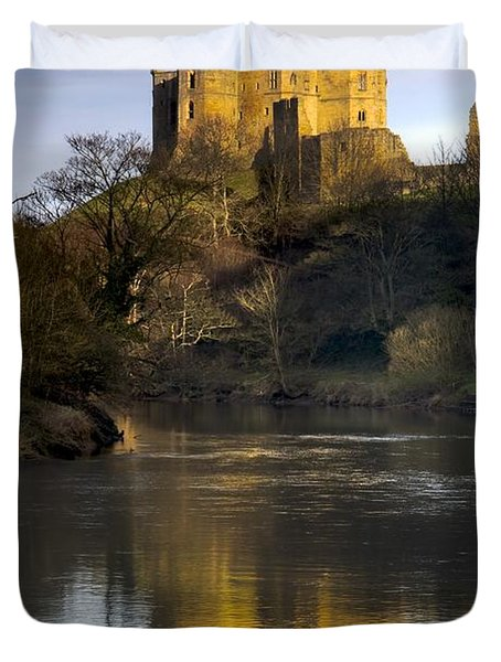 Church Reflection In Water, Warkworth Duvet Cover by John Short
