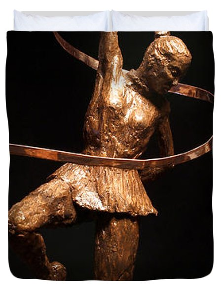 Citius Altius Fortius Olympic Art Gymnast Over Black Duvet Cover by Adam Long