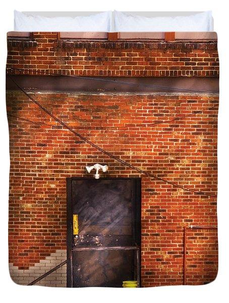 City - Door - The Back Door  Duvet Cover by Mike Savad