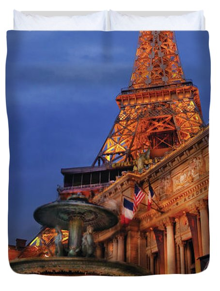 City - Vegas - Paris - Academie Nationale - Panorama Duvet Cover by Mike Savad