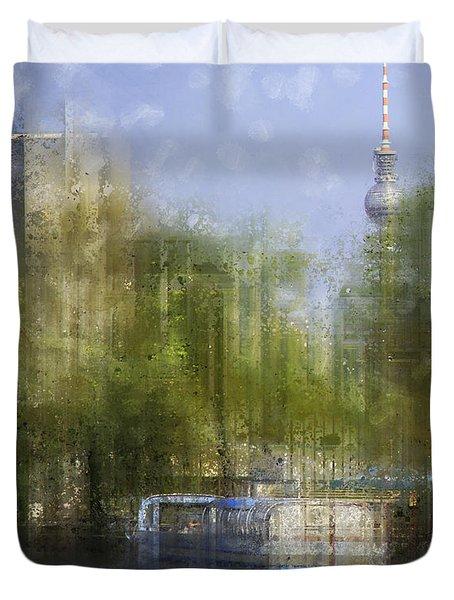 City-art Berlin River Spree Duvet Cover by Melanie Viola