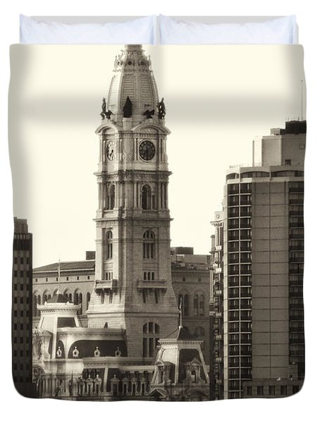 City Hall from the Parkway - Philadelphia Duvet Cover by Bill Cannon