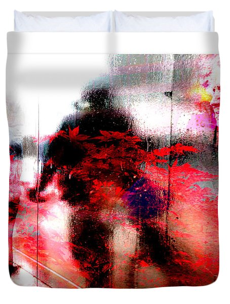 City Street Reflections Duvet Cover by Mal Bray