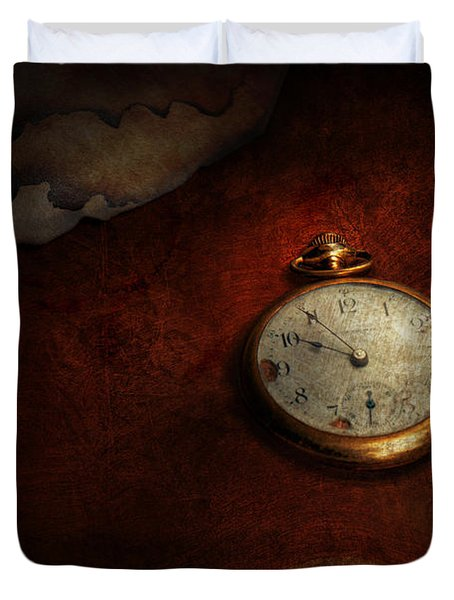 Clock - Time waits for nothing  Duvet Cover by Mike Savad