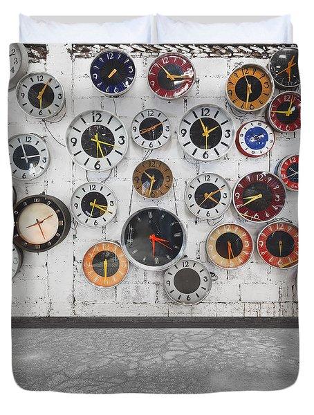 clocks on the wall Duvet Cover by Setsiri Silapasuwanchai