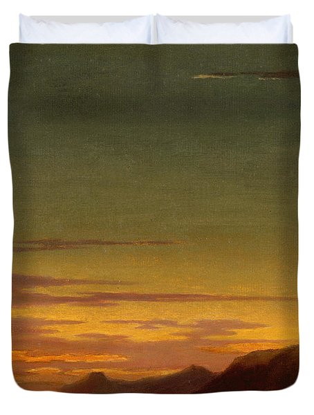 Close Of The Day - Sunset On The Coast Duvet Cover by Alexander Cozens