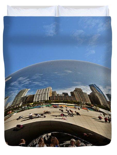 Cloud Gate - The Bean - Millennium Park Chicago Duvet Cover by Christine Till