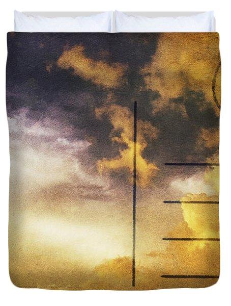 Cloud In Sunset On Postcard Duvet Cover by Setsiri Silapasuwanchai