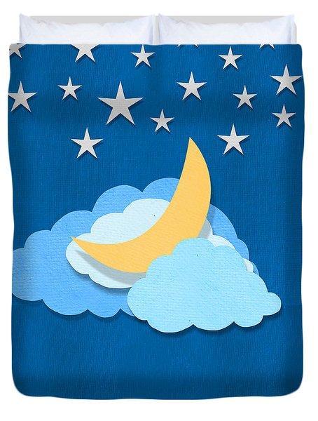 Cloud Moon And Stars Design Duvet Cover by Setsiri Silapasuwanchai