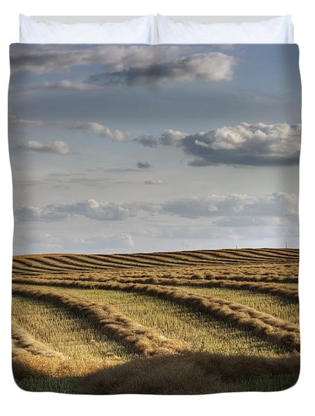 Clouds Over Canola Field On Farm Duvet Cover by Dan Jurak