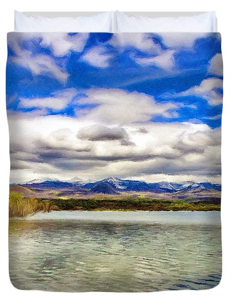 Clouds over Distant Mountains Duvet Cover by Jeff Kolker