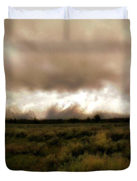 Clouds Over The Tetons Duvet Cover by Ellen Heaverlo