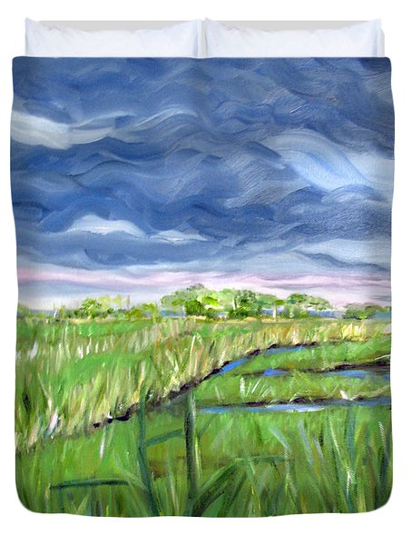 Cloudy Marsh Duvet Cover by Clara Sue Beym