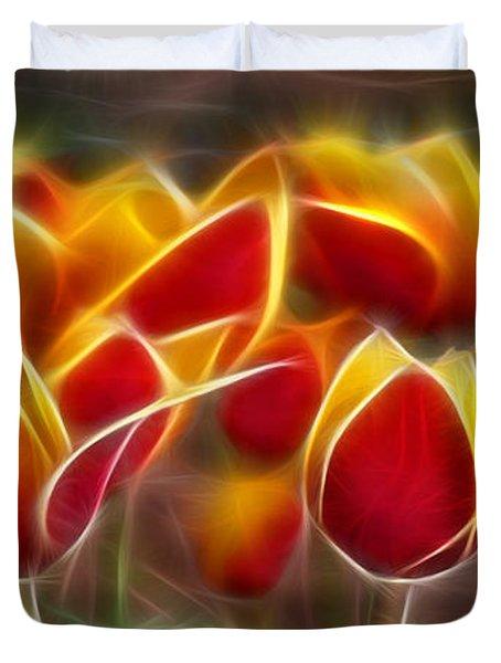 Cluisiana Tulips Fractal Duvet Cover by Peter Piatt