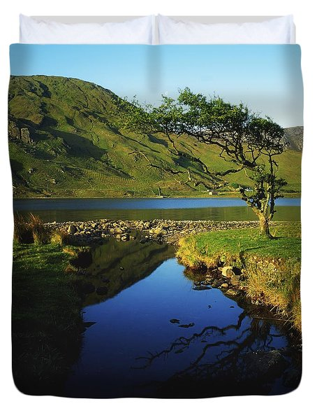 Co Galway, Kylemore Lough, Benbaun Duvet Cover by The Irish Image Collection