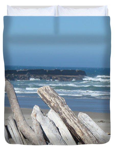 Coastal Driftwood Art Prints Blue Sky Ocean Waves Duvet Cover by Baslee Troutman