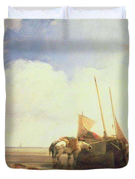 Coastal Scene In Picardy Duvet Cover by Richard Parkes Bonington