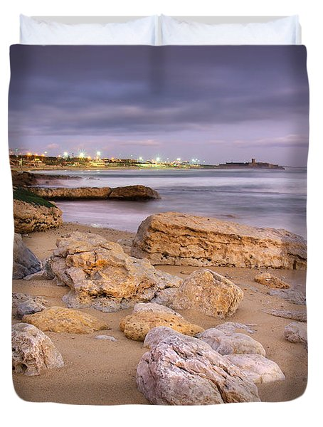 Coastline At Twilight Duvet Cover by Carlos Caetano