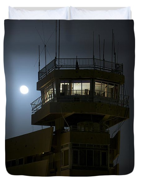 Cob Speicher Control Tower Under A Full Duvet Cover by Terry Moore