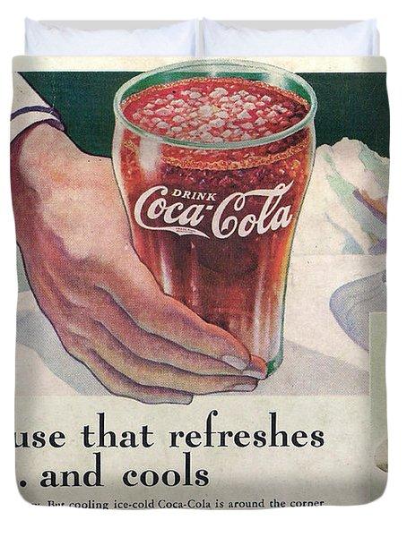Coca Cola 1937 Duvet Cover by Georgia Fowler