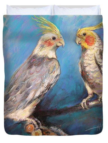 Coctaiel Parrots Duvet Cover by Ylli Haruni