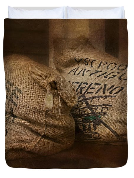 Coffee Beans in Burlap Bags Duvet Cover by Susan Candelario