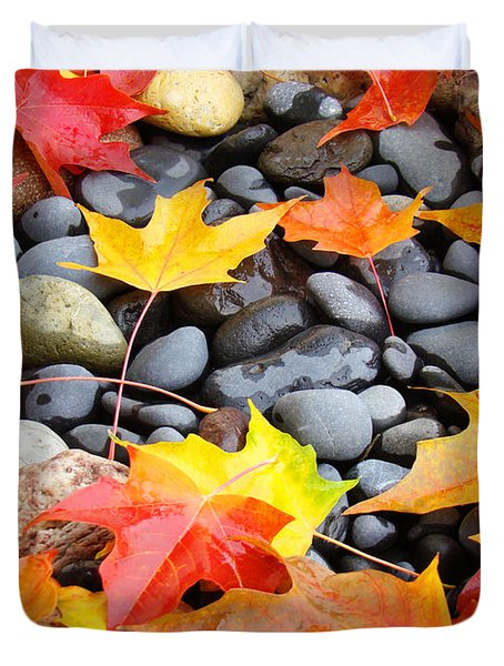 Colorful Autumn Leaves Prints Rocks Duvet Cover by Baslee Troutman