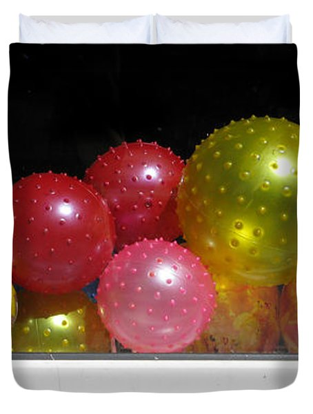 Colorful Balls In The Shop Window Duvet Cover by Ausra Paulauskaite