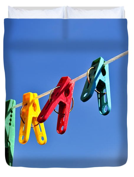 Colorful clothes pins Duvet Cover by Elena Elisseeva