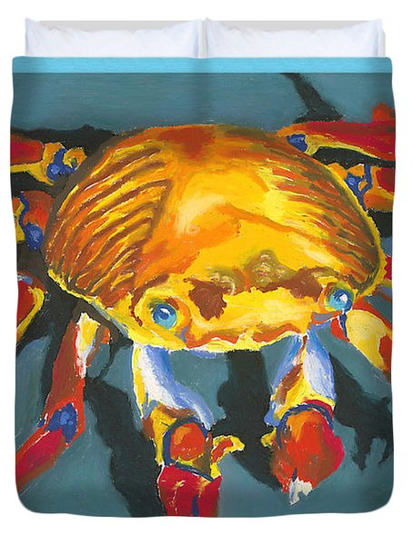 Colorful Crab With Border Duvet Cover by Stephen Anderson