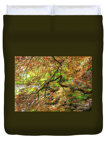 Colorful Maple Leaves Duvet Cover by Carol Groenen