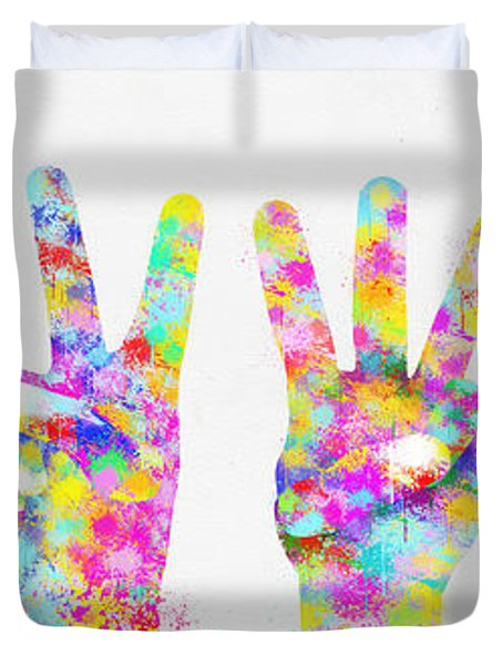 Colorful Painting Of Hands Number 0-5 Duvet Cover by Setsiri Silapasuwanchai