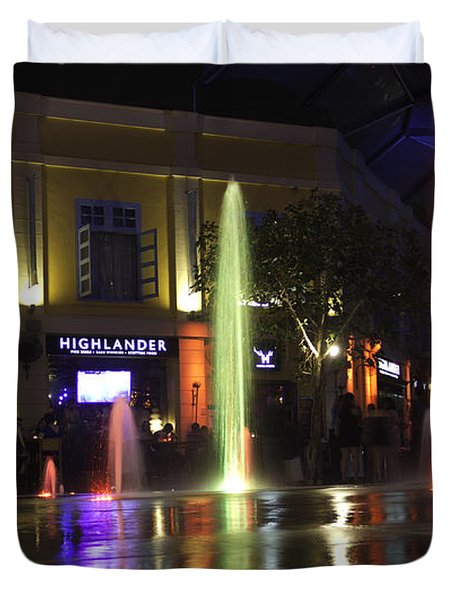 Colorful Water Jets At Clarke Quay In Singapore Duvet Cover by Ashish Agarwal