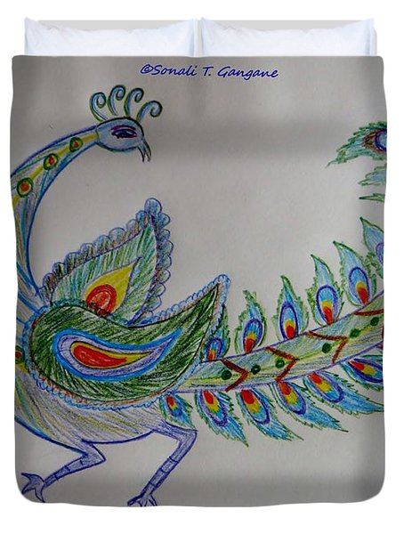 Colourful Bird Duvet Cover by Sonali Gangane
