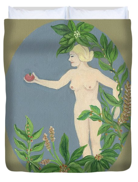Come And Get It Eva Offers A Red Apple  To Adam In Green Vegetation Leaves Plants And Flowers Blond  Duvet Cover by Rachel Hershkovitz