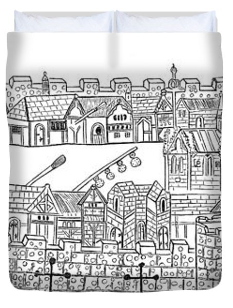 Constantinople, Procession At City Duvet Cover by Photo Researchers