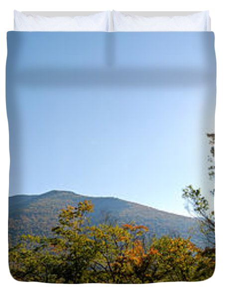 Conway Scenic Railroad  - Longtrack View Duvet Cover by Geoffrey Bolte