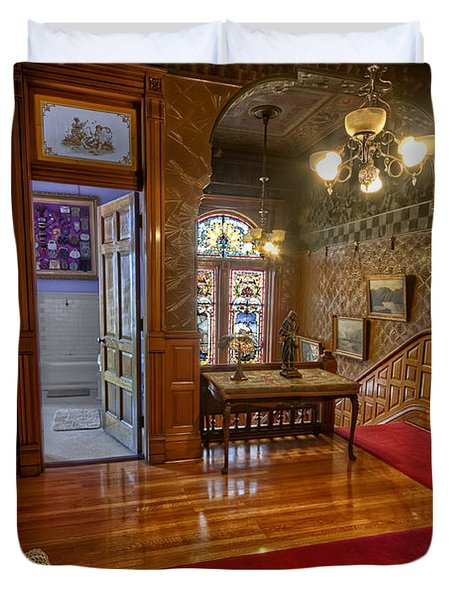 Copper King Mansion 2nd Floor Landing - Butte Montana Duvet Cover by Daniel Hagerman