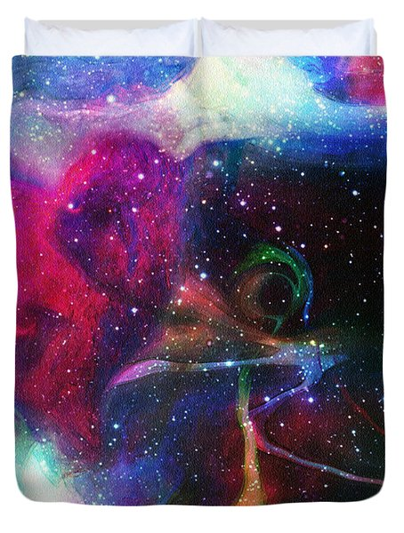 Cosmic Connection Duvet Cover by Linda Sannuti