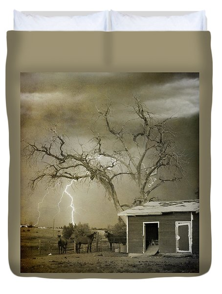 Country Horses Lightning Storm Ne Boulder Co 66v Bw Art Duvet Cover by James BO  Insogna