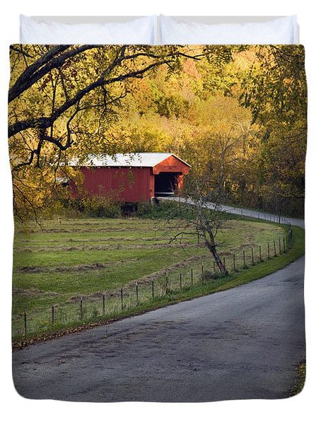 Country Lane - D007732 Duvet Cover by Daniel Dempster