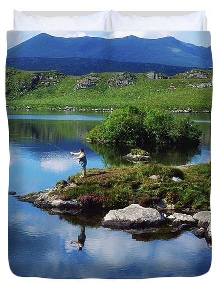 County Kerry, Ireland Fishing On Duvet Cover by Sici