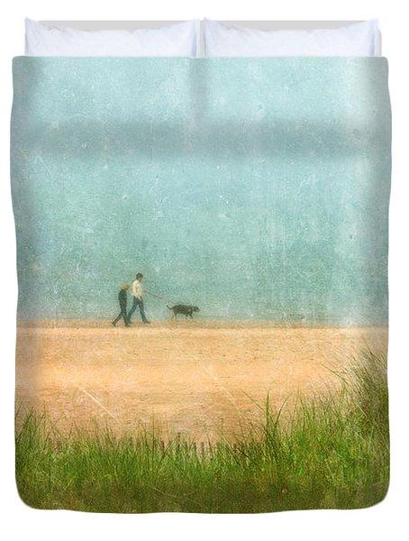 Couple On Beach With Dog Duvet Cover by Jill Battaglia
