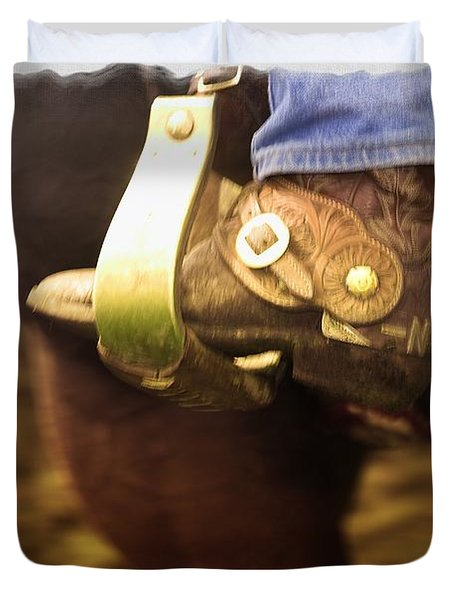Cowboy Boot Duvet Cover by Carson Ganci
